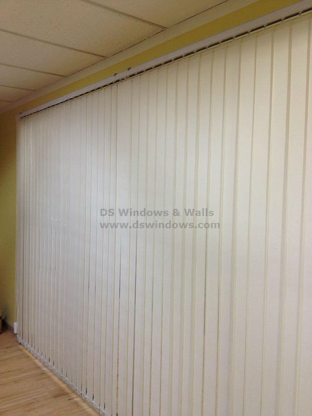 Fabric Vertical Blinds Installed in Conference Room