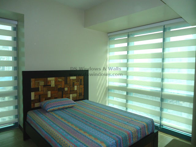 Simple Charm of Pleated Dual Shades For Condo Unit Bedroom - Makati Metro Manila