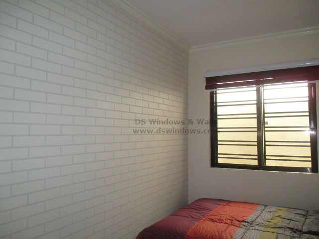 Brick Effect Vinyl Wallpaper Design For Small Bedroom to Feel Spacious - Pasay City, Philippines