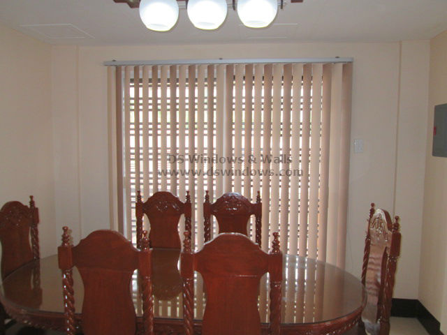 Vanilla and Mocca PVC Vertical Blinds Combination for Dining Area - Tanza Cavite