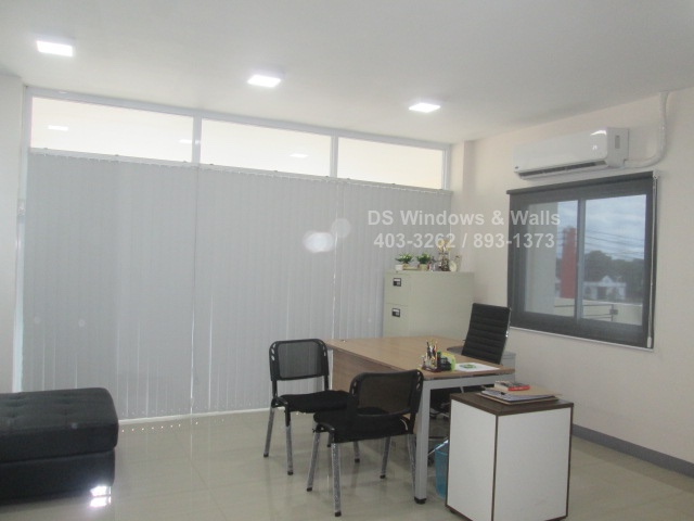 Roller shades and vertical blinds for offices