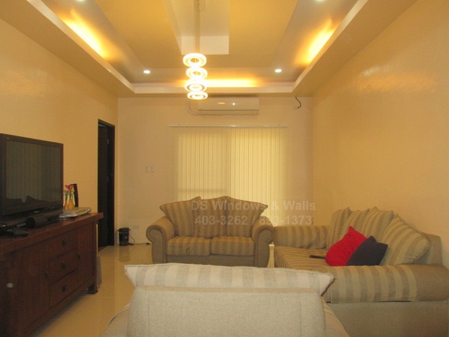 Fabric vertical blinds entertainment room