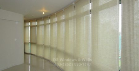 Hallway glasswall window covering roller blinds