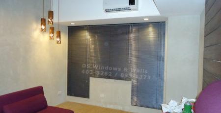 Classic gray venetian blinds